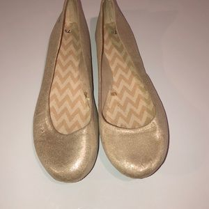Champagne colored slip ons